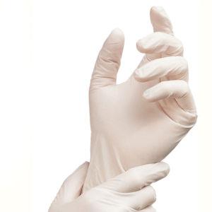 Γάντια λατέξ λευκά